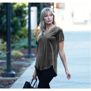 Amaryllis Velvet Relaxed Hi Low Tee Top Small